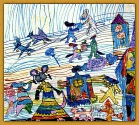幼儿教育:儿童油棒画《《小老鼠的生活》》-中大网校