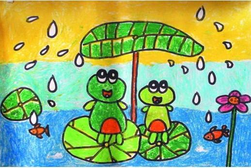 幼儿教育 儿童水彩画 青蛙躲雨 中大网校儿童教育 高清图片