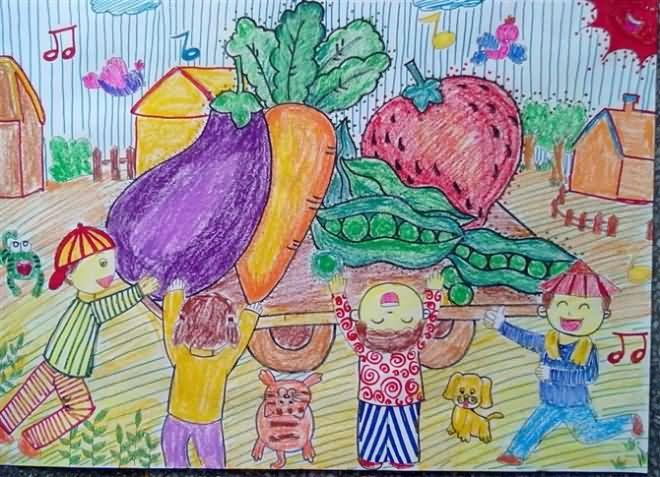 儿童水彩画《大丰收》
