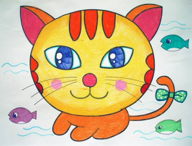 幼儿教育:儿童油棒画《小花猫》-中大网校儿童教育网