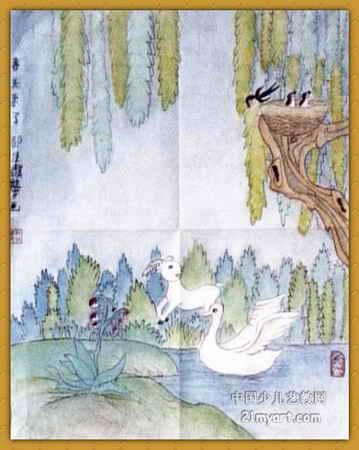 中国风儿童画《《春天来了》》