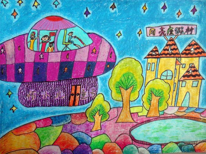 幼儿教育:儿童科幻画《月亮度假村》-中大网校儿童
