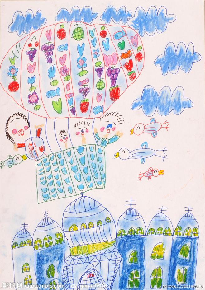 儿童科幻画《一家人去旅游》