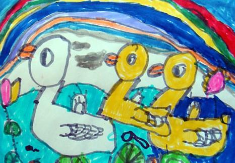 儿童水彩画《池塘边的彩虹》