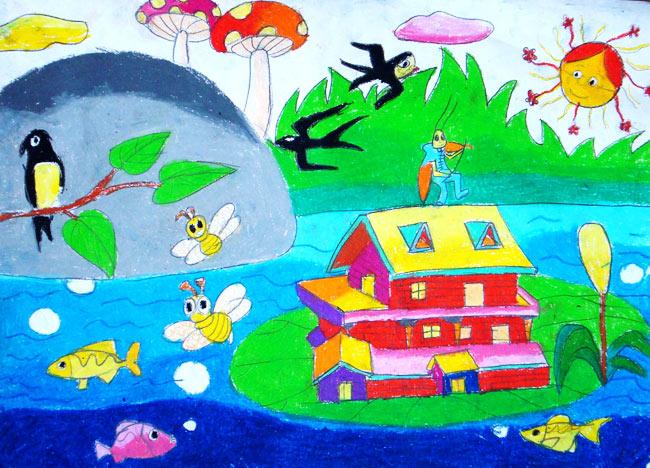幼儿教育:儿童水彩画《春天的燕子》-中大网校儿童