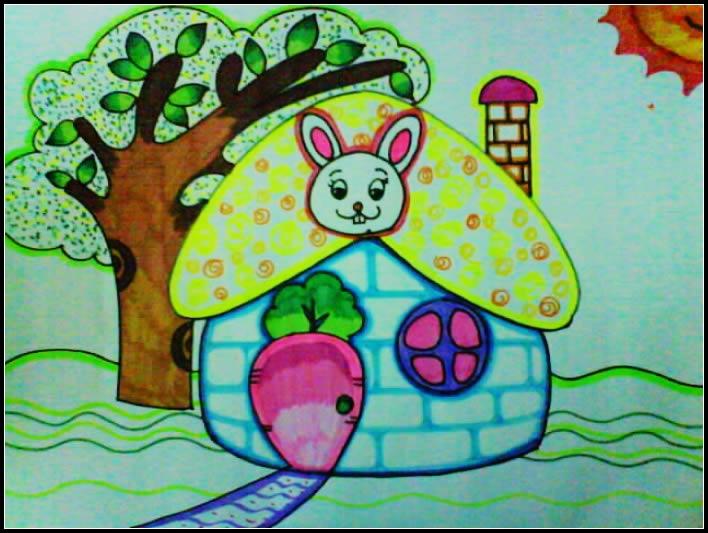 幼儿教育:儿童水彩画《蘑菇一样的小房子》-中大网校
