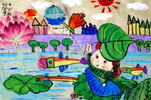 中国风儿童画《拇指姑娘》