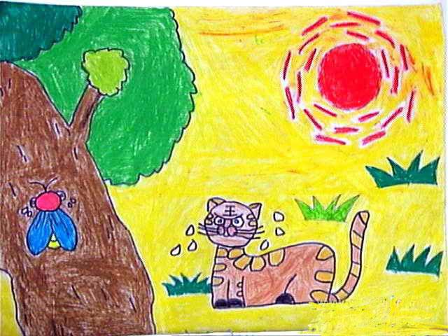 幼儿教育:儿童油棒画《炎热的太阳公公》-中大网校