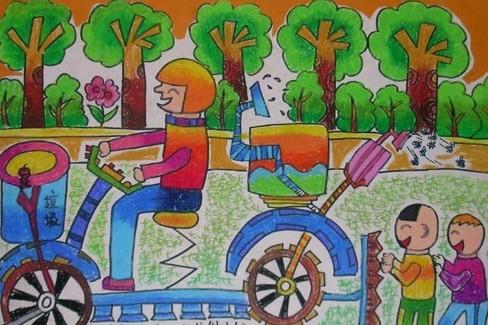 儿童科幻画《现代多用途自行车》