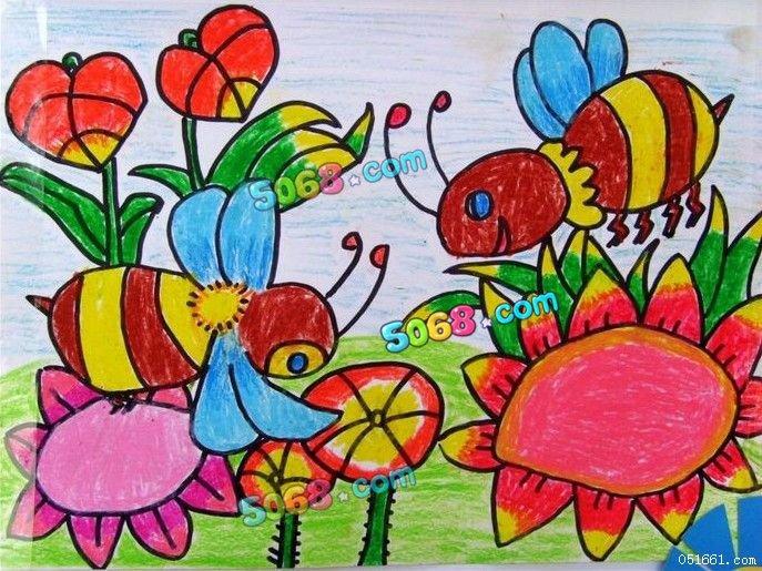 幼儿教育:儿童水彩画《花丛中的小蜜蜂儿童水彩笔画