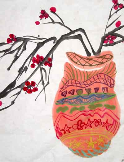 中国风儿童画《瓶中梅花》