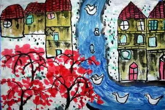 中国风儿童画《可爱的家乡》
