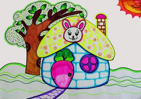 幼儿教育:儿童水彩画《小兔子的新家》-中大网校儿童