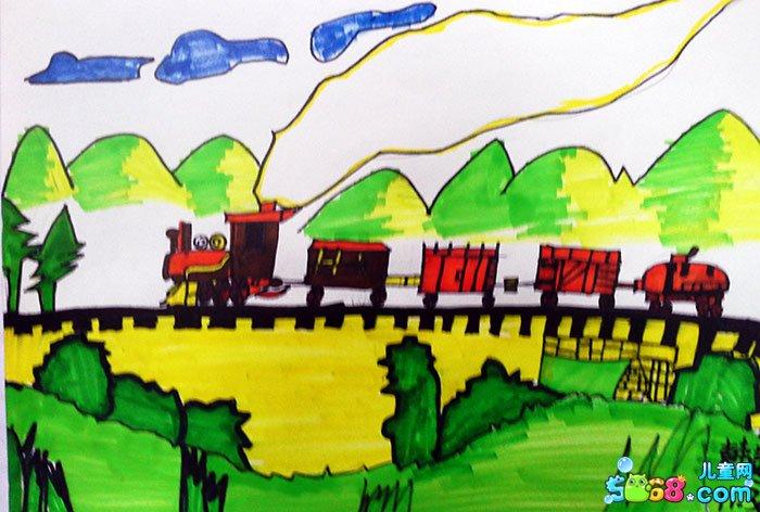 儿童水彩画《优秀幼儿水彩画作品-火车快跑》