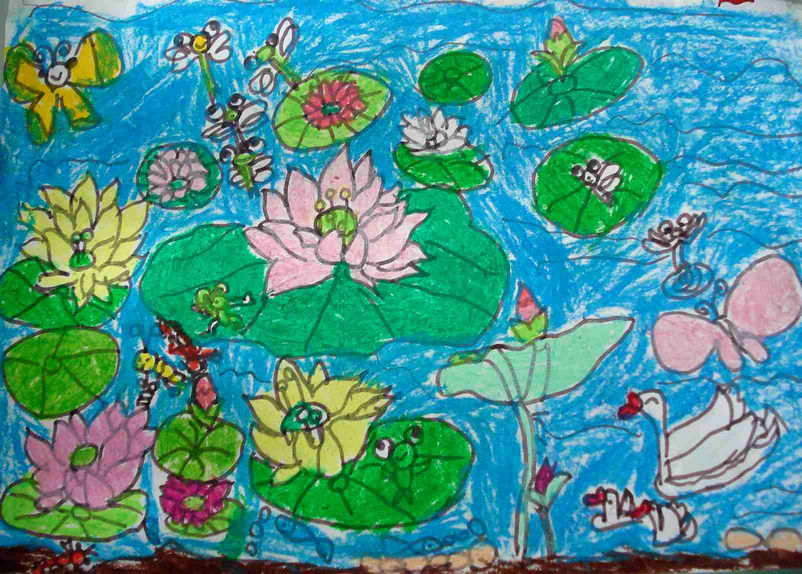 儿童水彩画《春天的荷花》