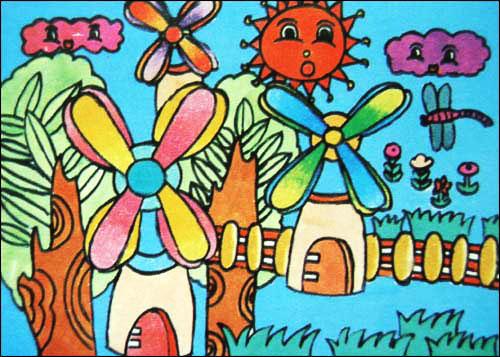 风车小屋少儿水彩画