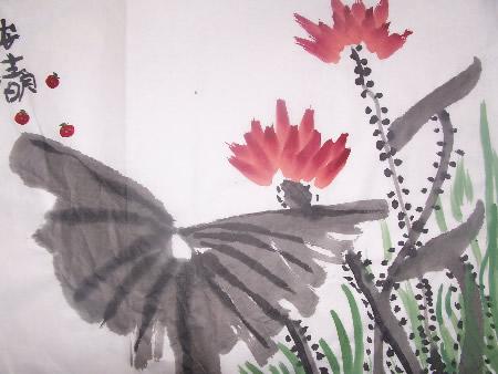 中国风儿童画《娇艳荷花》