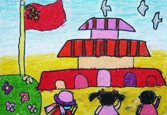儿童油棒画《向国旗敬礼》