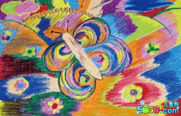 儿童水彩画《儿童画蝴蝶的画法-多彩的蝴蝶》