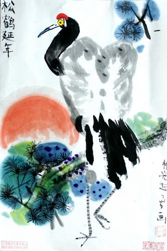 中国风儿童画《松鹤延年》