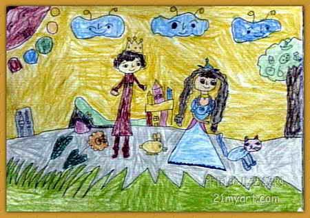 儿童水彩画《《王子与公主》》