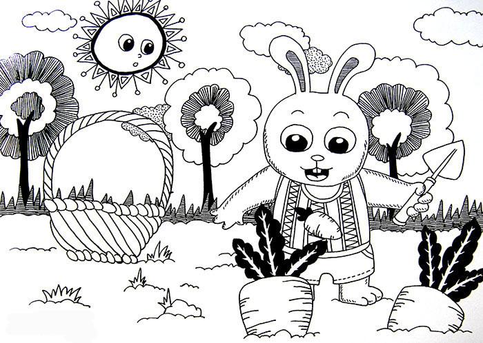 幼儿教育:线描《小白兔收萝卜》-中大网校儿童教育网