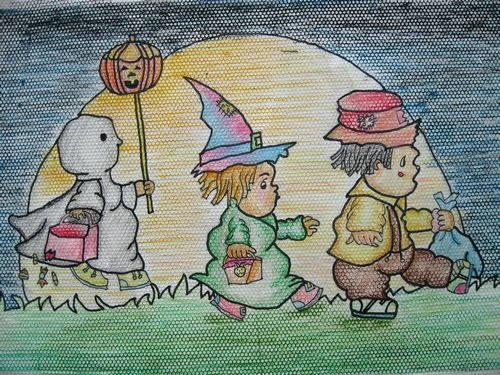幼儿教育:儿童版画《可爱的万圣节装扮》-中大网校