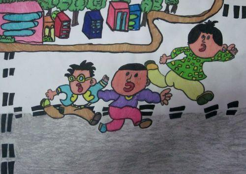 幼儿教育:儿童水彩画《交通规则不能忘简单儿童水