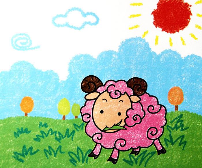 儿童油棒画《粉红色的绵羊》图片