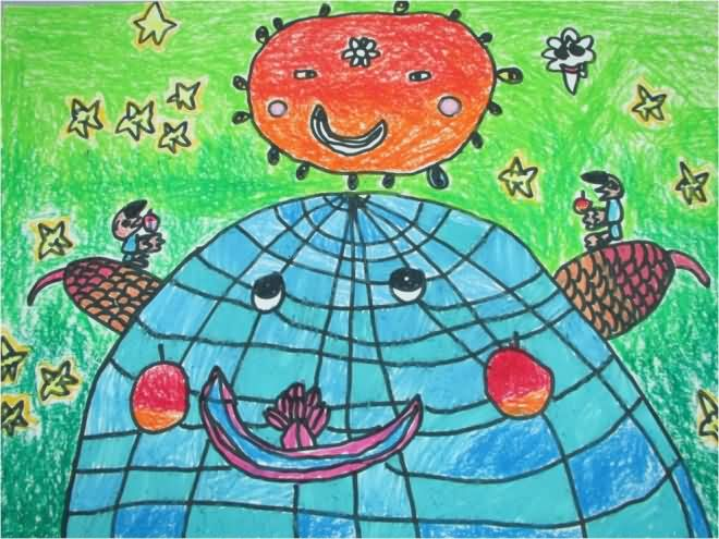 幼儿教育:儿童版画《蓝色地球》-中大网校儿童教育网