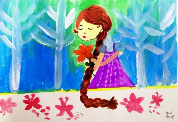 儿童水彩画《长辫子姑娘》
