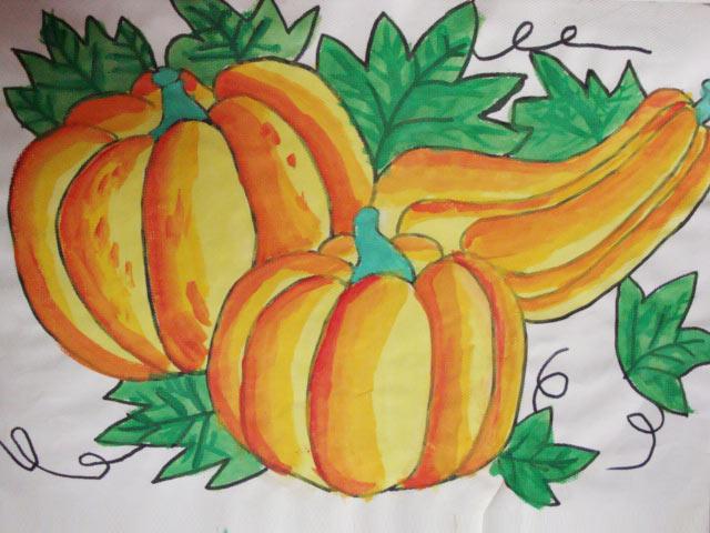 儿童水彩画《南瓜大丰收》