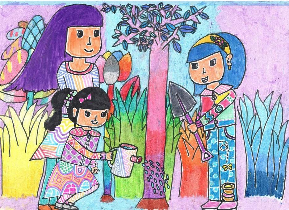 儿童水彩画《植树》
