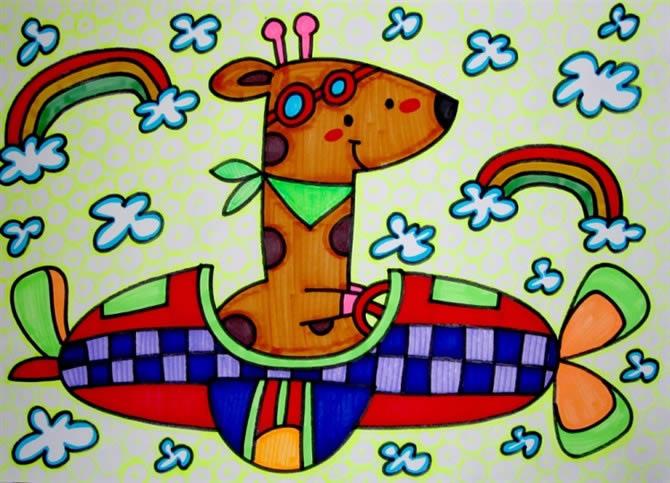 幼儿教育:儿童油棒画《长颈鹿开汽车》-中大网校儿童