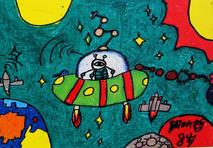 幼儿教育:儿童科幻画《美丽的太空》-中大网校儿童