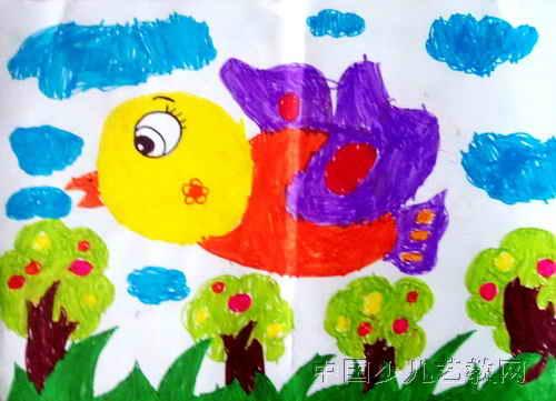 儿童水彩画《飞行的小鸟》