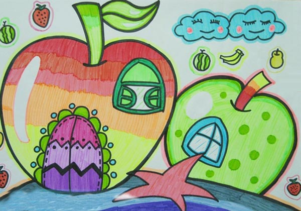 幼儿教育:儿童水彩画《漂亮的苹果屋儿童水彩画图片