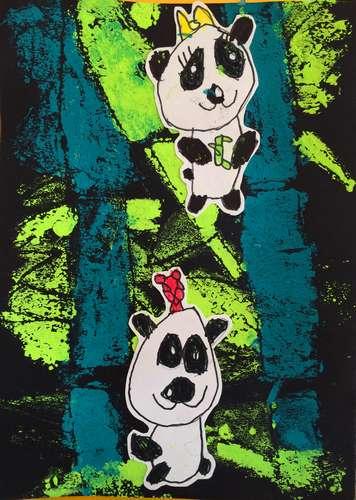 幼儿教育:儿童版画《熊猫》-中大网校儿童教育网