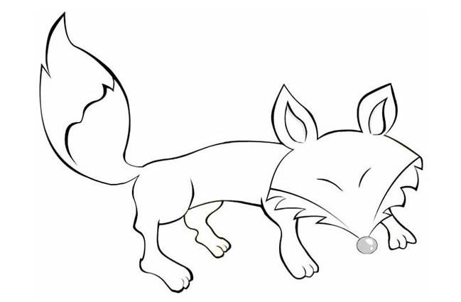 线描《可爱的小狐狸》