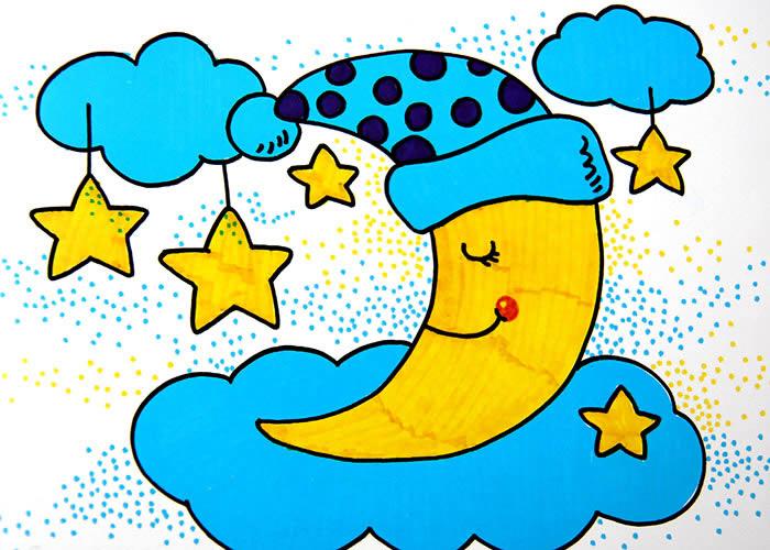 幼儿教育:儿童水彩画《月亮的梦乡》-中大网校儿童