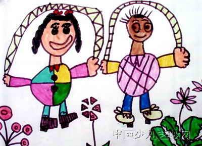 幼儿教育:儿童水彩画《跳绳的小朋友》-中大网校儿童
