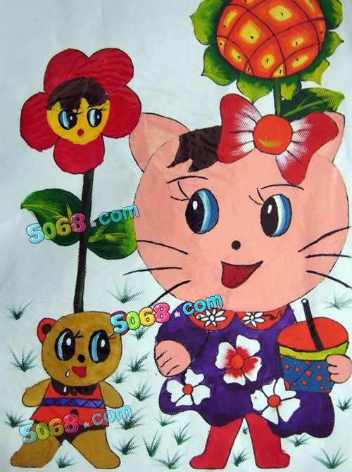儿童水彩画《可爱小猫和玩具熊水彩画图片大全》
