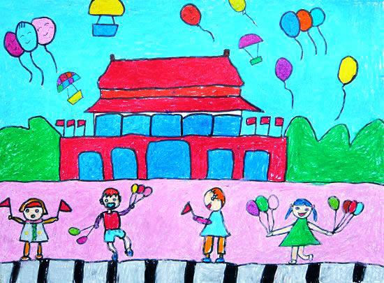 儿童油棒画《我爱北京天安门》图片