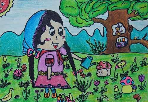 幼儿教育:儿童油棒画《爱护花草》-中大网校儿童教育