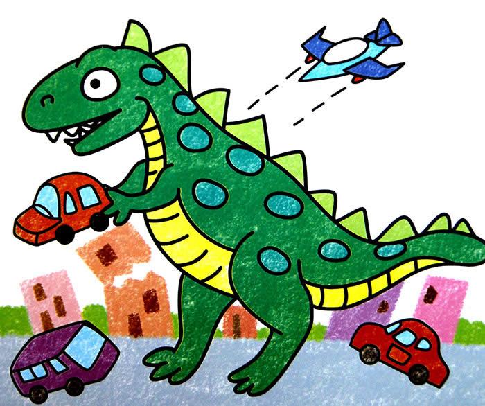 幼儿教育:儿童科幻画《恐龙入侵地球》-中大网校儿童