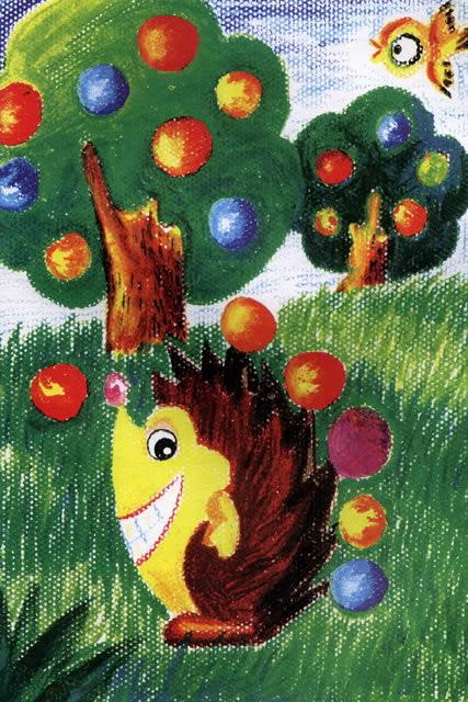 儿童油棒画《可爱的小刺猬》