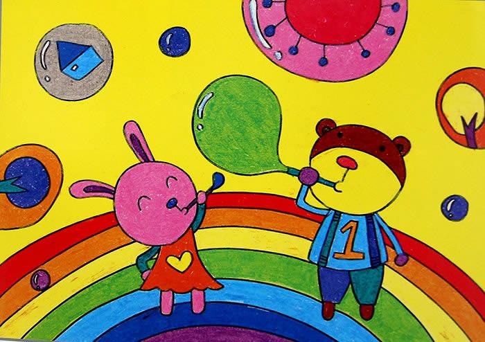 儿童油棒画《七彩的彩虹桥》