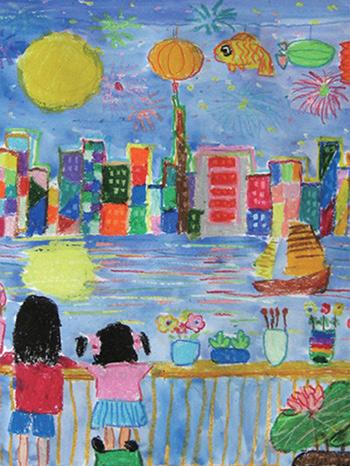 幼儿教育:儿童水彩画《小桥上看月亮》-中大网校儿童