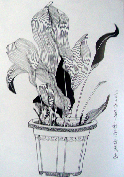 儿童线描花卉