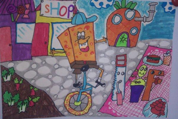 儿童水彩画《阿曼和它的朋友》